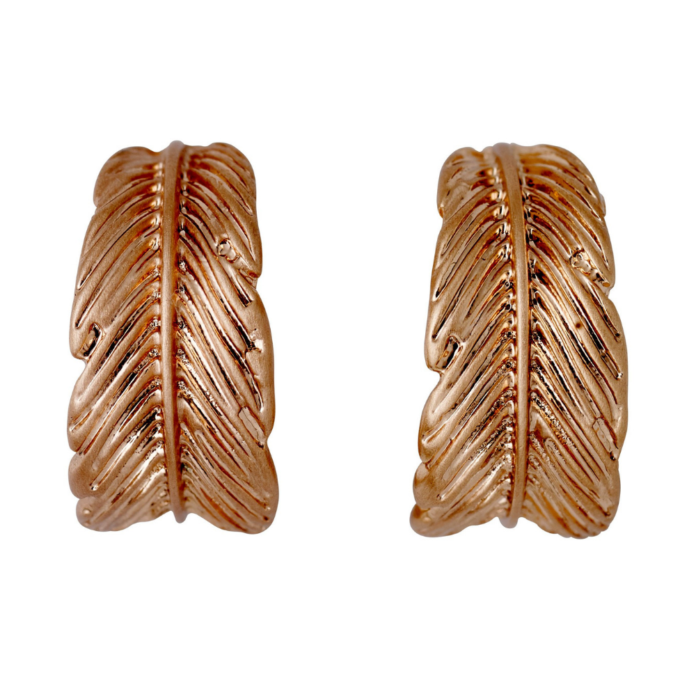 Lauren Boho Feather Rose Gold Plated Earrings