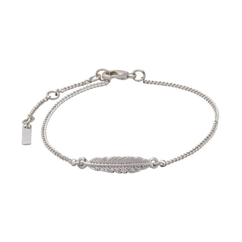 Lauren Boho Feather Silver Plated Bracelet