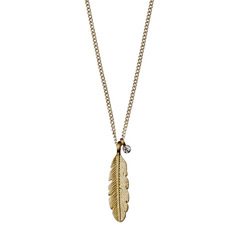 Lauren Boho Feather Gold Plated Necklace