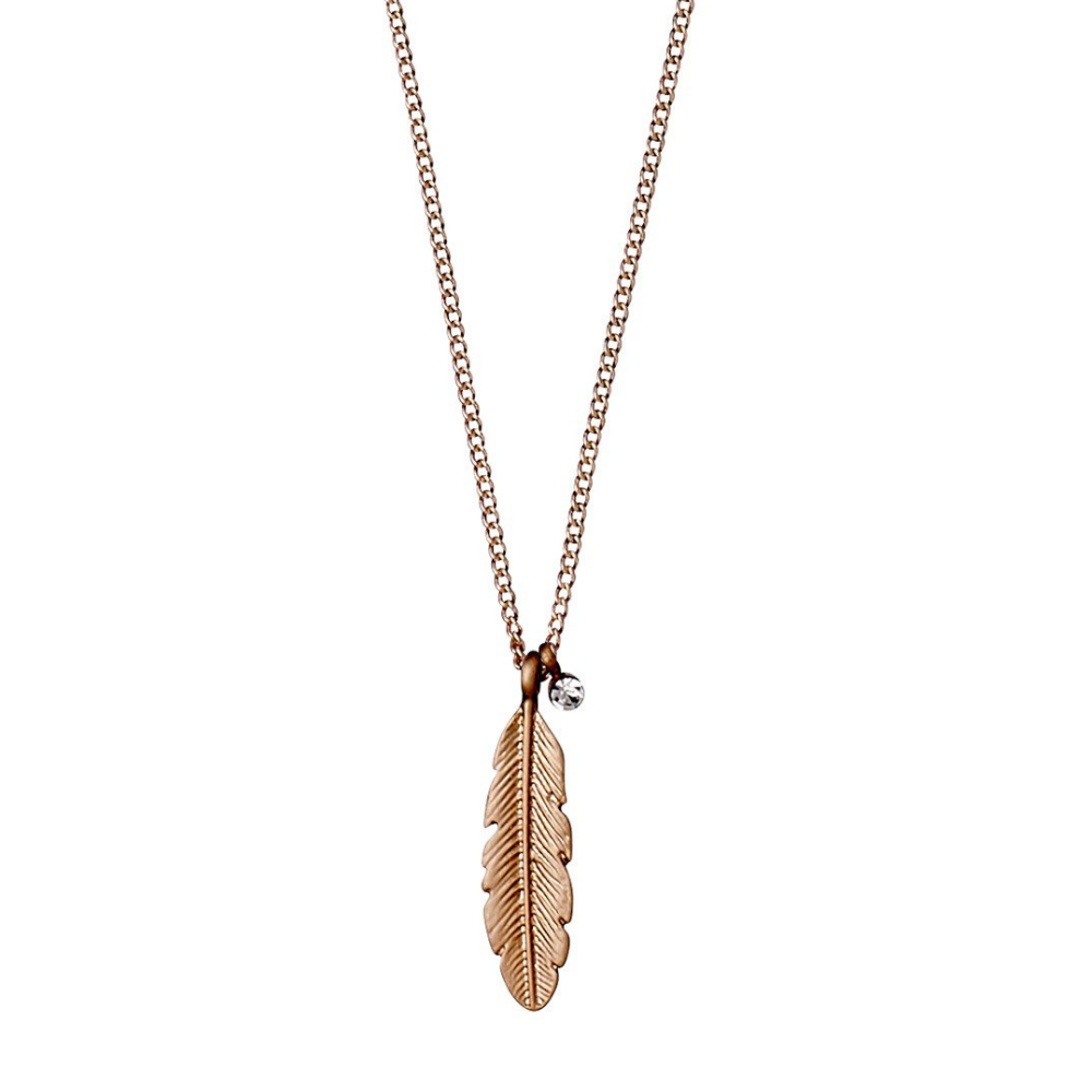 Lauren Boho Feather Rose Gold Plated Necklace
