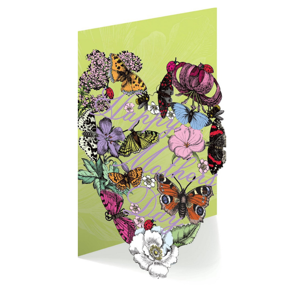 Mrs Merrion Floral Heart Lasercut Mother's Day Card