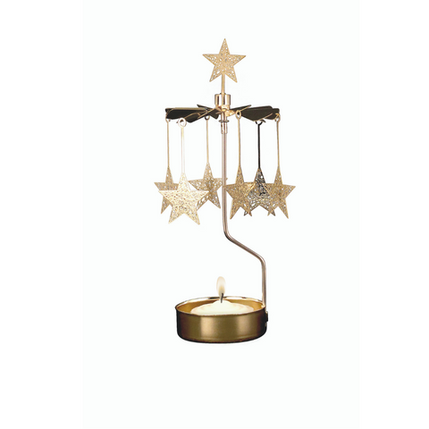 Gold 5 Pointed Star Rotary Tealight Candle Holder
