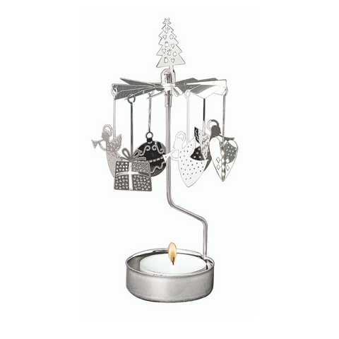 Silver Christmas Rotary Tealight Candle Holder