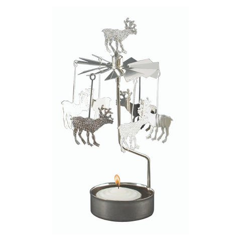 Silver Reindeer Rotary Tealight Candle Holder