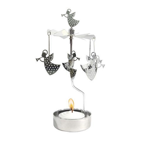 Silver Trumpet Angel Rotary Tealight Candle Holder