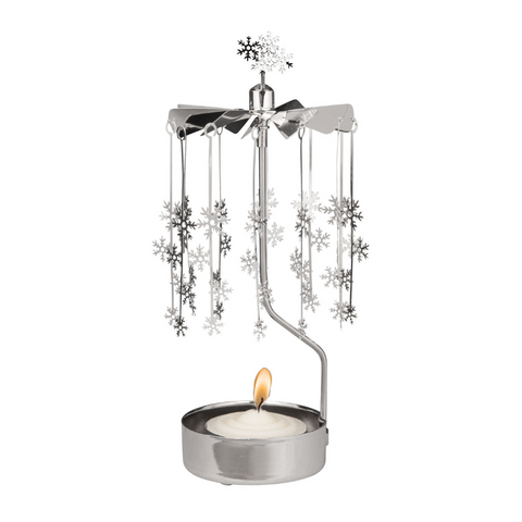 Silver Snowflakes Rotary Tealight Candle Holder