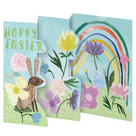 Rabbit and Rainbow Petite Trifold Easter Card