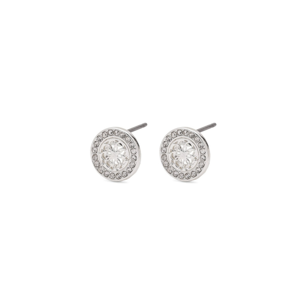 Henrietta Silver Plated and Crystal Stud Earrings