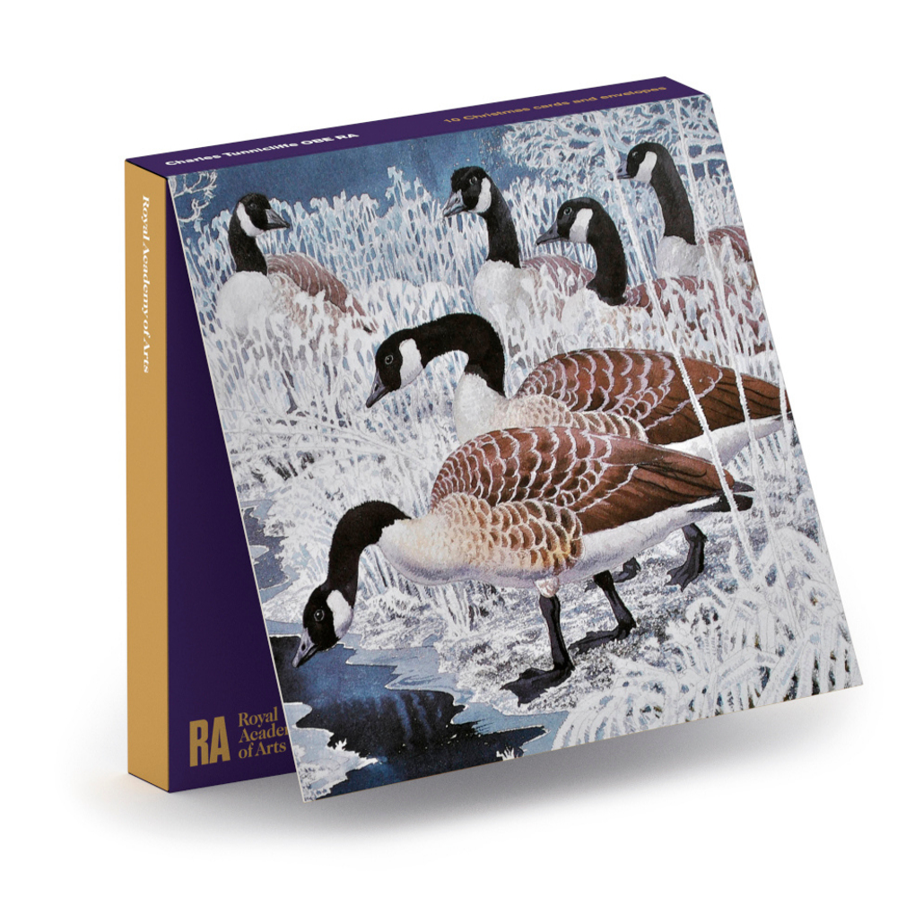 Geese And Hoar Frost Square Christmas Card 10 Pack