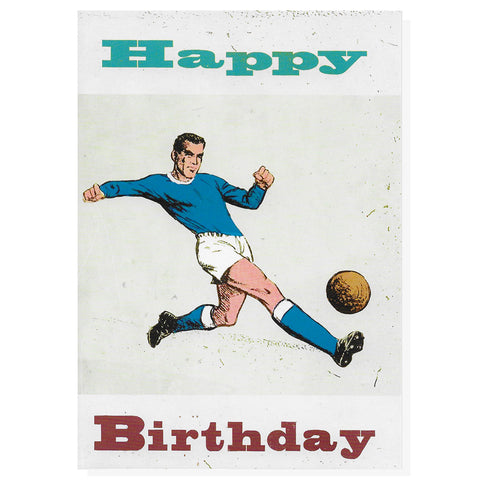 Blue Footballer Happy Birthday