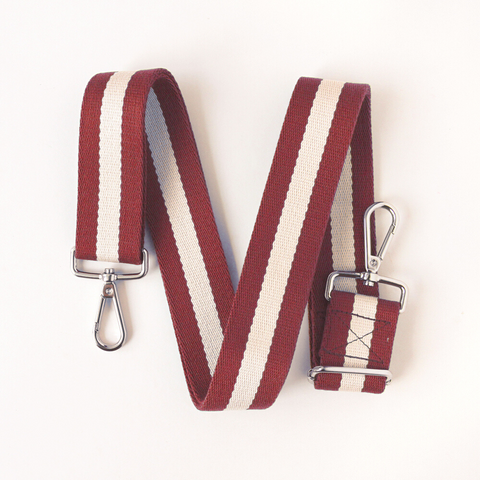Caroline Gardner Burgundy And Cream Webbing Handbag Strap