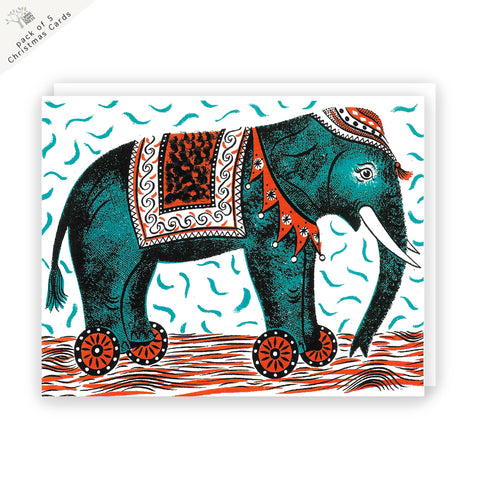 Elephant Christmas Card Pack of 5