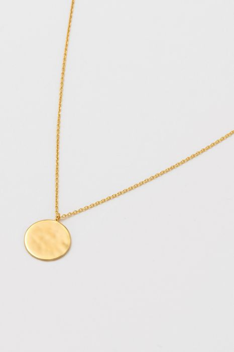 Estella Bartlett Hammered Disc Pendant Gold