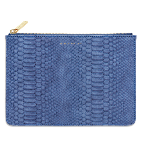 Estella Bartlett Navy Snake-Effect Medium Pouch