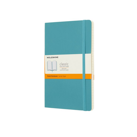 Moleskine Large Soft Cover Reef Blue Ruled Notebook