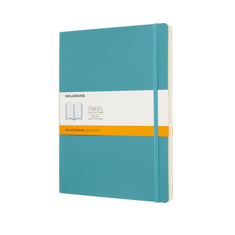 Moleskine XL Soft Cover Reef Blue Ruled Notebook