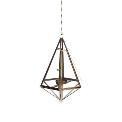 Mokomo Antique Brass Hanging Lantern - Medium