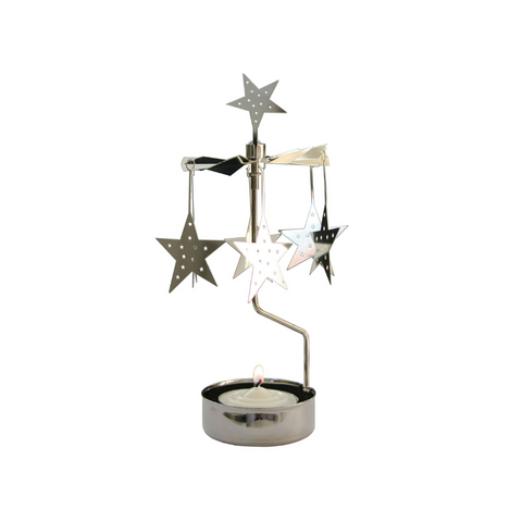 Silver Stars Rotary Tealight Candle Holder