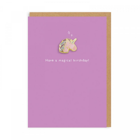 Magical Birthday Unicorn (Card With Enamel Pin)