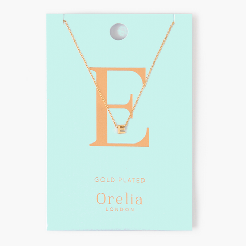 Gold Plated Initial Necklace - E