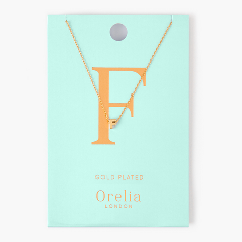 Gold Plated Initial Necklace - F