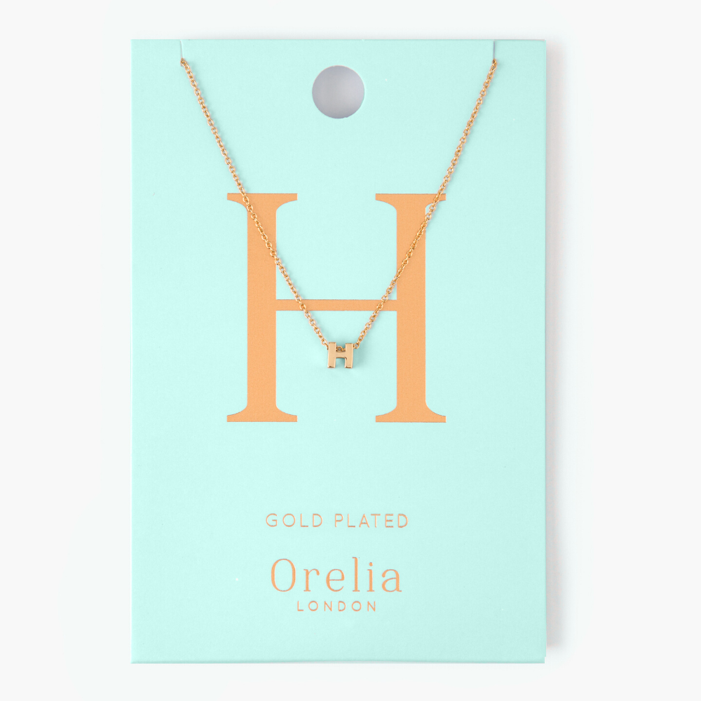 Gold Plated Initial Necklace - H