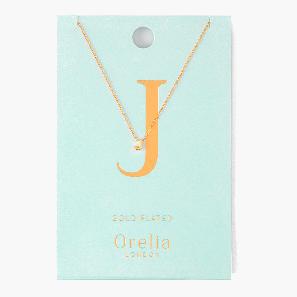 Gold Plated Initial Necklace - J