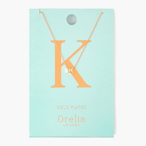 Gold Plated Initial Necklace - K