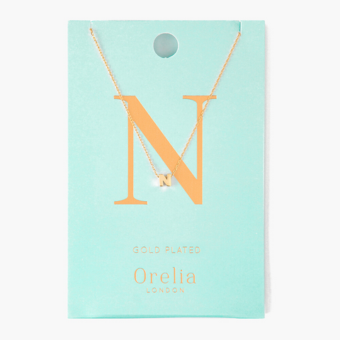 Gold Plated Initial Necklace - N