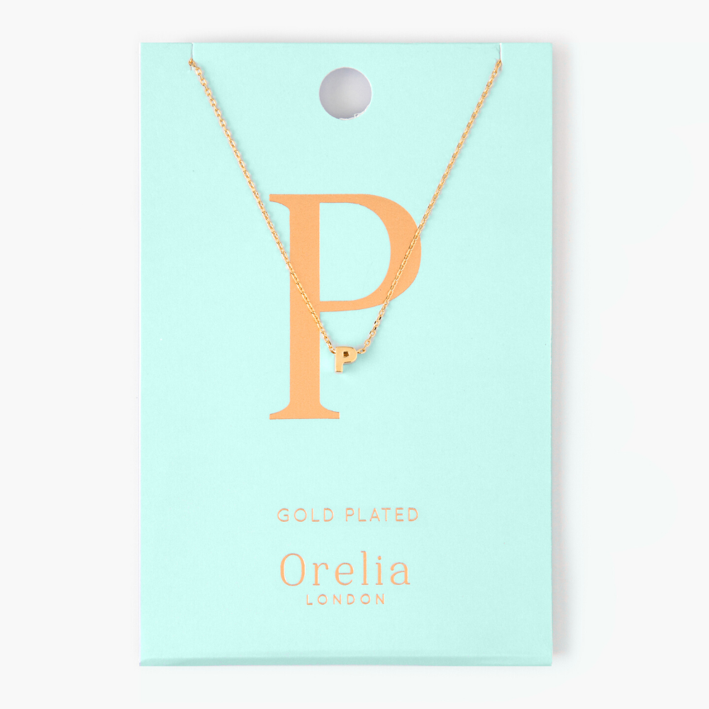 Gold Plated Initial Necklace - P