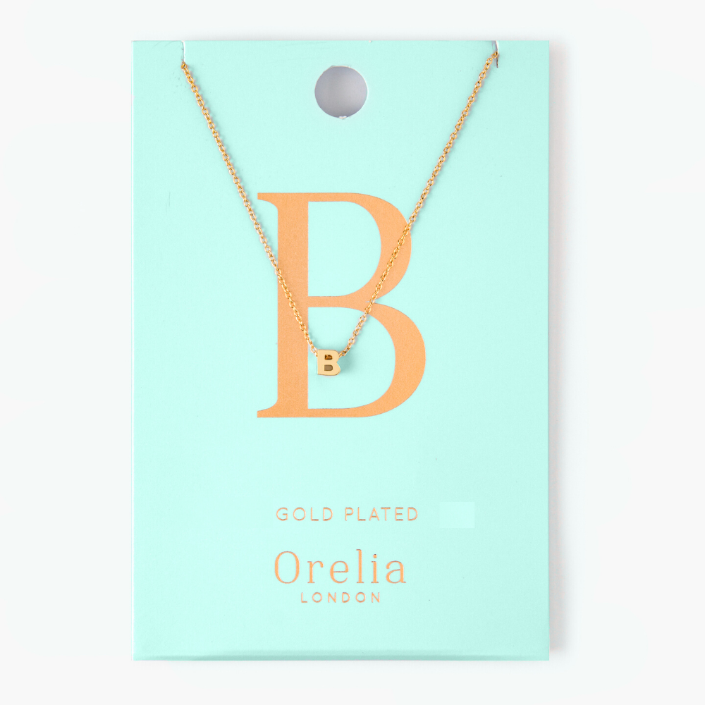 Gold Plated Initial Necklace - B
