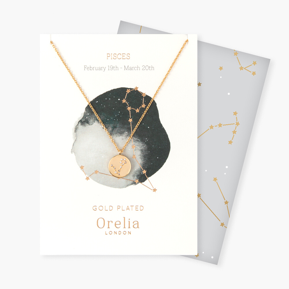 Pisces Constellation Star Sign Disc Necklace