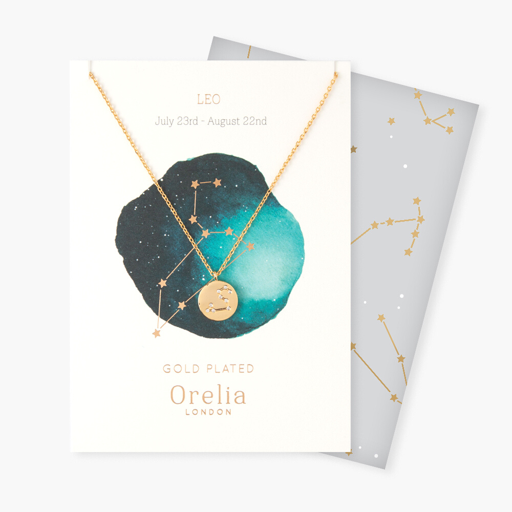 Leo Constellation Star Sign Disc Necklace