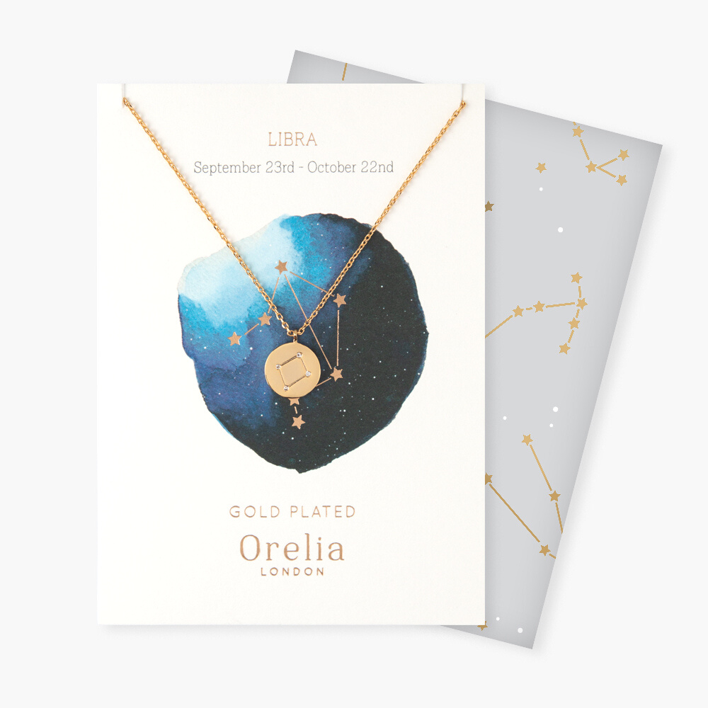 Libra Constellation Star Sign Disc Necklace