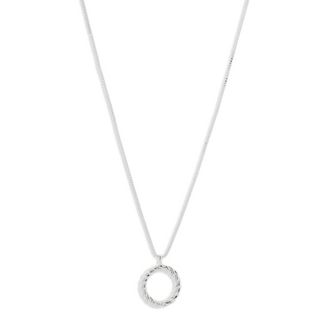 Cece Twisted Circle Silver Plated Necklace