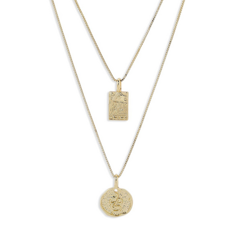 Valkyria Gold Plated Twin Necklace