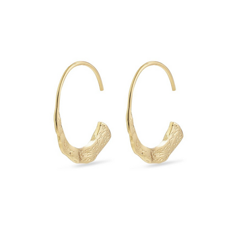 Valkyria Hammered Gold Plated Hoop Earrings
