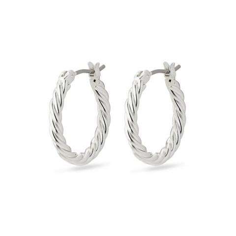 Cece Twisted Silver Plated Hoop Earrings