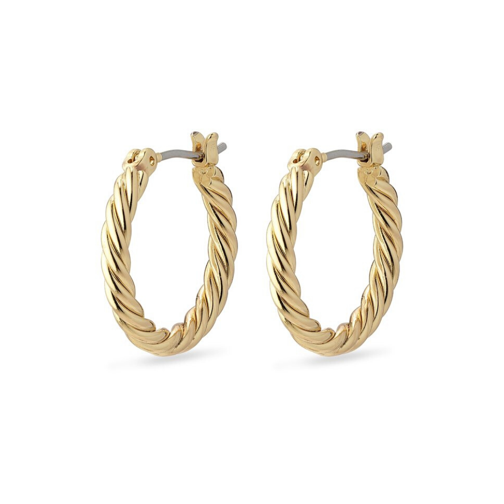 Cece Twisted Gold Plated Hoop Earrings