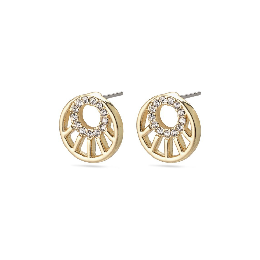 Cassie Art Deco Gold Plated Stud Earrings
