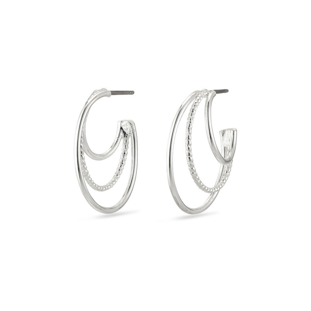 Freya Silver Plated Triple Hoop Earrings