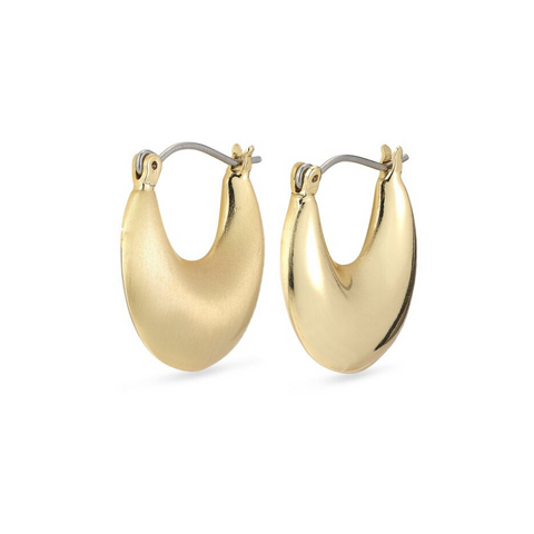 Alma Crescent Gold Plated Hoop Earrings