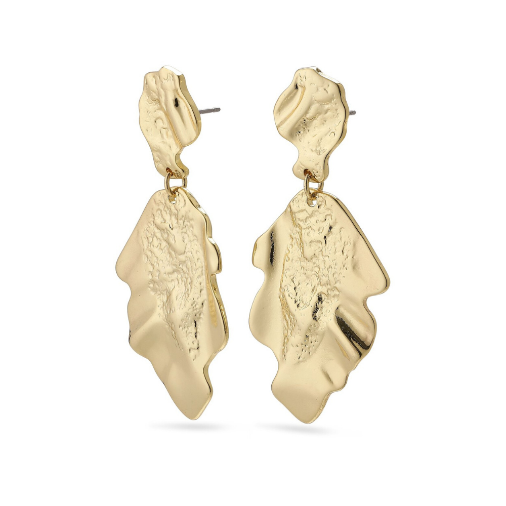 Valkyria Hammered Gold Plated Pendant Earrings