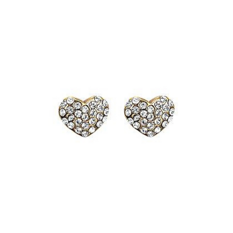 Mathilda Heart Gold Plated And Crystal Stud Earrings