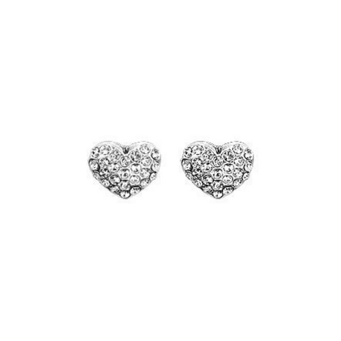 Mathilda Heart Silver Plated And Crystal Stud Earrings