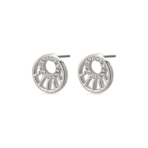 Cassie Art Deco Silver Plated Stud Earrings