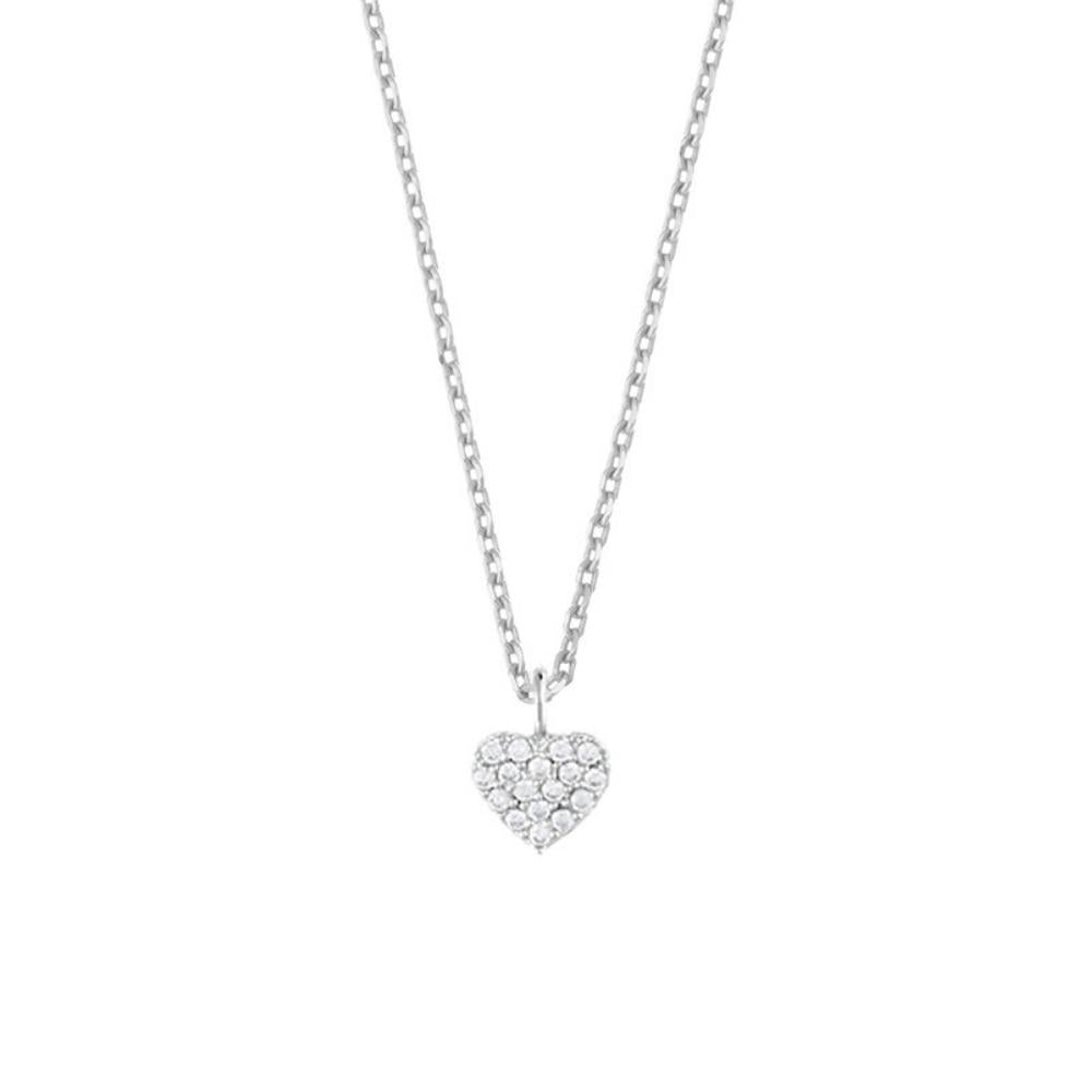 Estella Bartlett CZ Heart Silver Plated Necklace