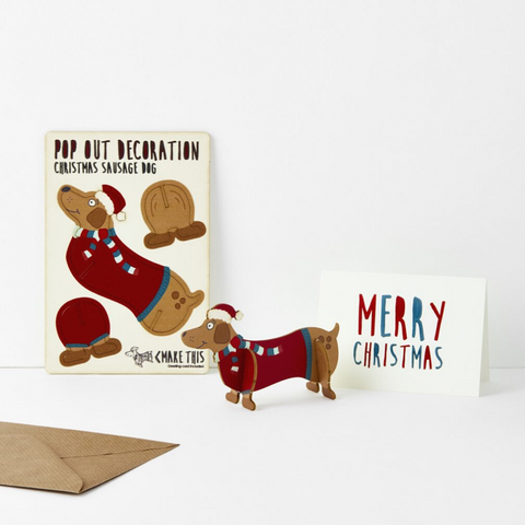 Christmas Sausage Dog (Pop Out Decoration and Card)