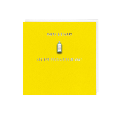 Let The Festivities Be Gin (Card With Enamel Pin)
