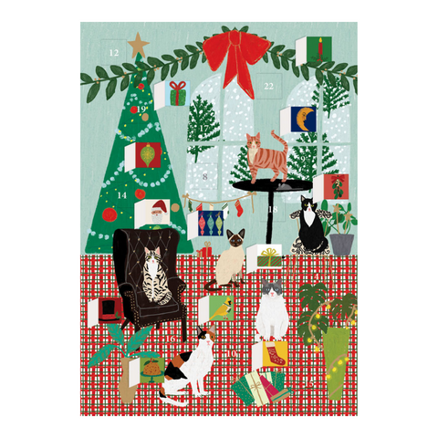 Fireside Cats Advent Calendar Card